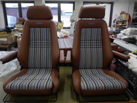 Recaro Specialist M monteret med cognac farvet læder og originalt VW T3 joker betræk